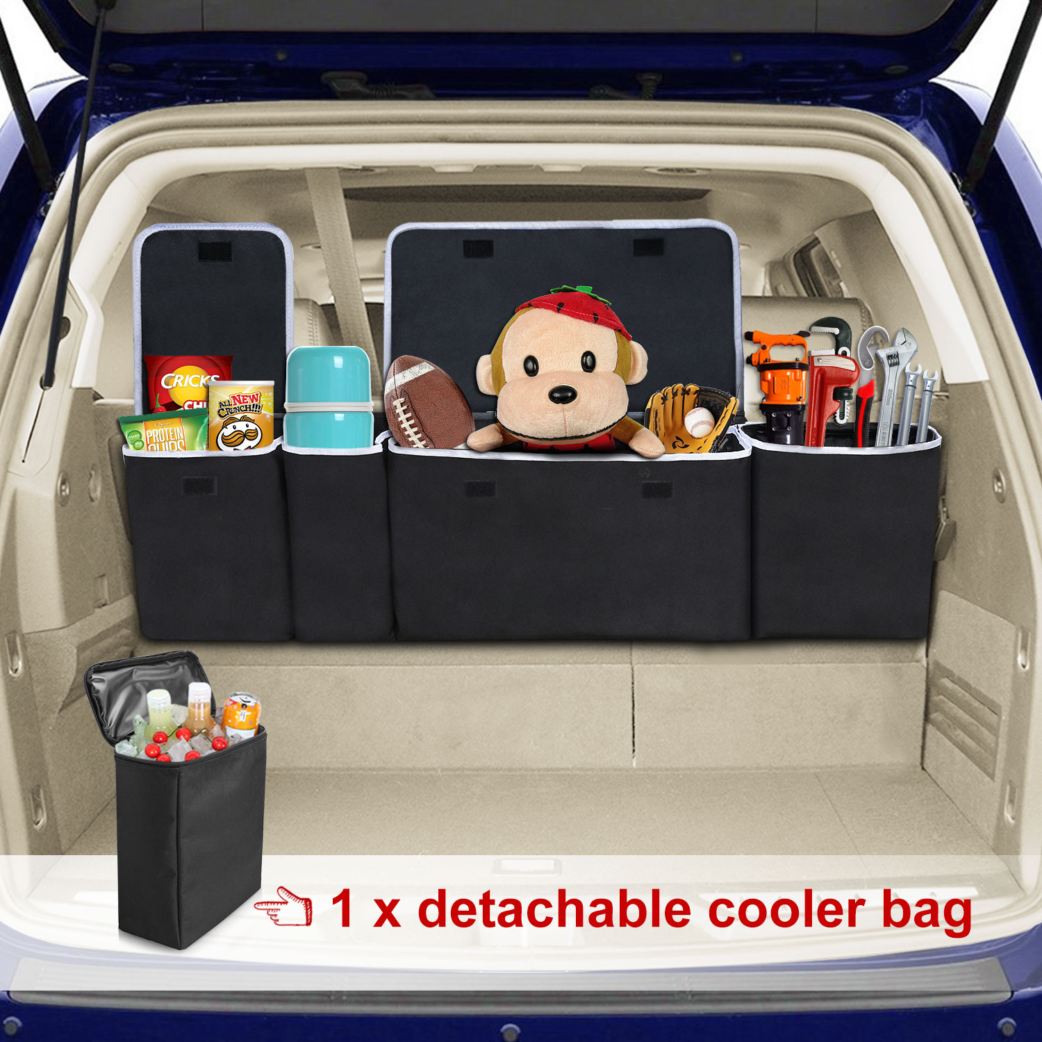 Modokit 600D Durable SUV Car Hanging Trunk Organizer with Detachable Cooler