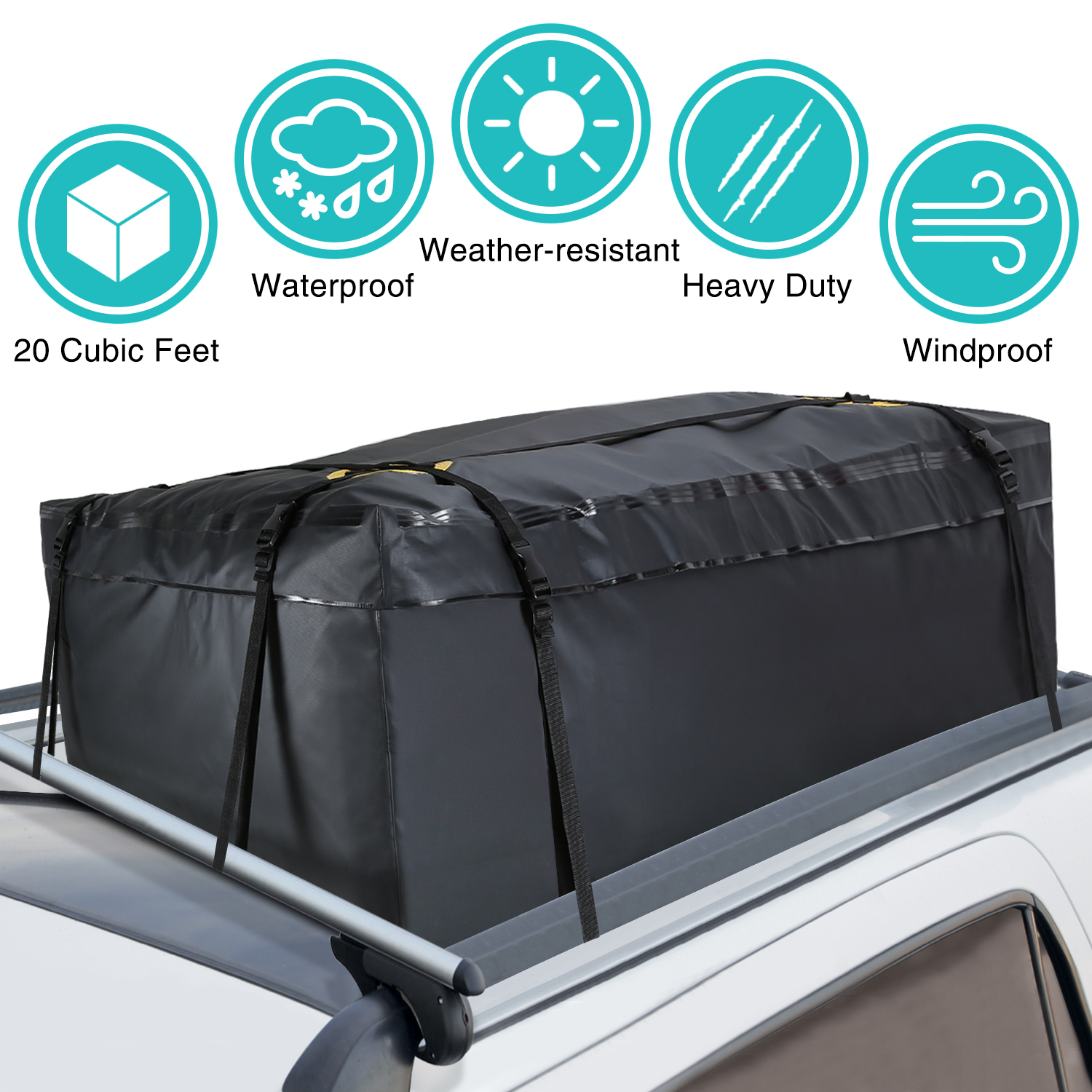 Modokit Car Cargo Roof Bag Bundle- 100% Waterproof Roof Top Cargo Bag for Vehicles with Rack Crossbars + Non Slip Protective Roof Mat & Storage Bag, Heavy Duty Roof Cargo Bag 15 Cubic Feet