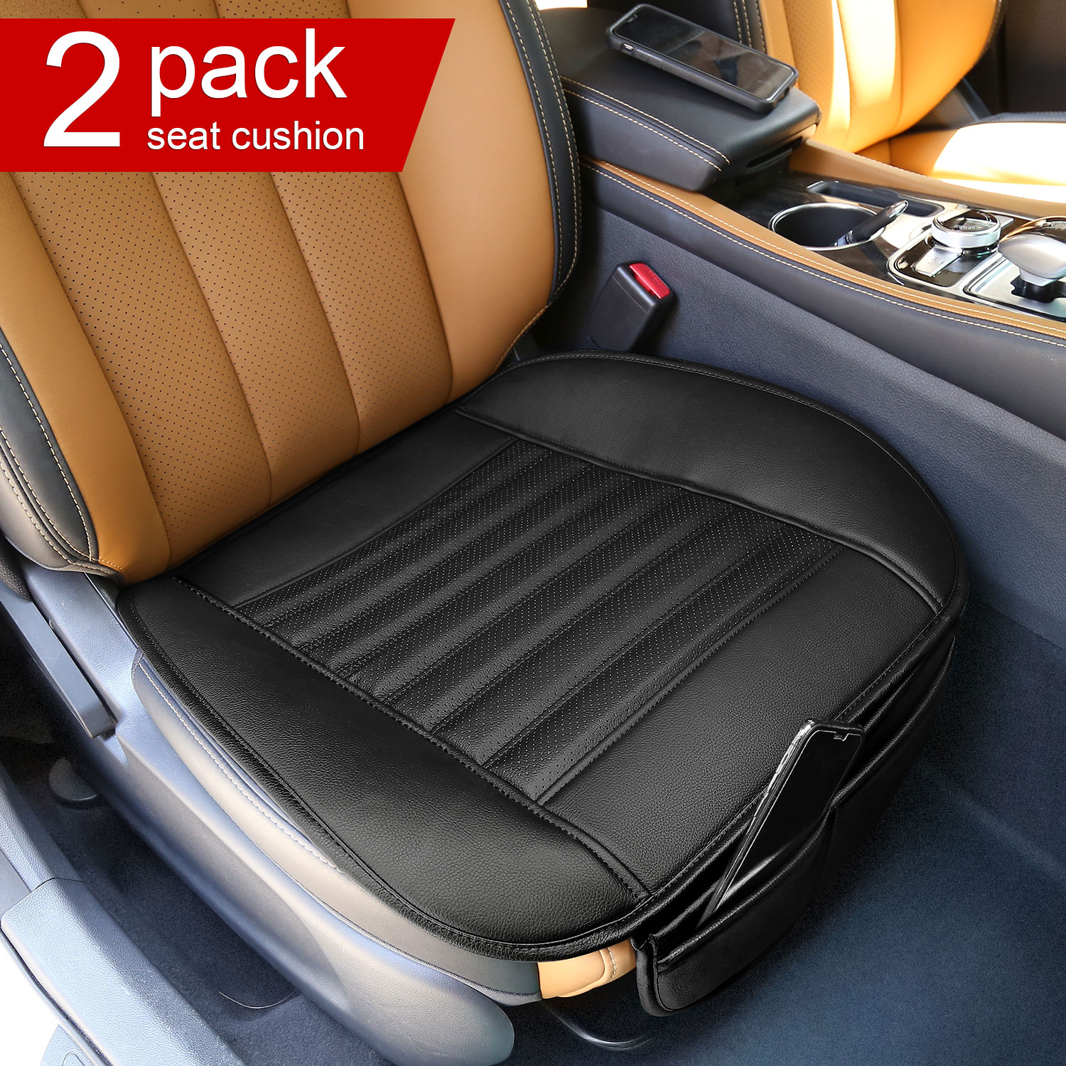 Modokit Set of 2 Car Interior Seat Cushions PU Leather Car Seat Protector Mat Pad Waterproof Breathable Seat Covers for Auto Supplies Office Chair(Black)